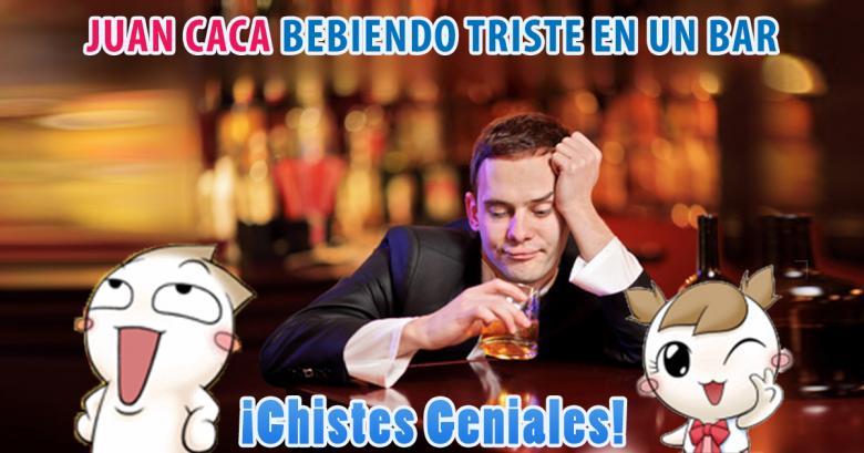 Juan Caca bebiendo triste en un bar